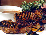 Honey Brined Pork Chops with Creole Mustard Reduction Sauce
