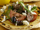 Grilled Lamb with Greek Spinach Pita Salad