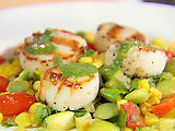 Succotash with Grilled Scallops and Parsley Drizzle