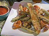 Fried Okra, Eggplant, and Shrimp with Oven Roasted Tomato Sauce