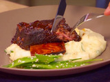 Braised Hoisin Beer Short Ribs with Creamy Mashed Yukons and Sesame Snow Peas
