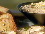 Artichoke and Goat Cheese Spread with French Bread Crostini