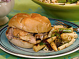 Hot Pork Sandwiches with Swiss and Quick Fix Russian Dressing
