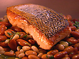 Seared Salmon with 3 Bean Salad