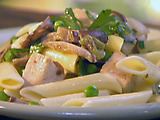 Penne with Chicken, Wild Mushrooms and Peas