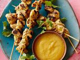 Chicken Kebabs with No-Cook Peach Chutney