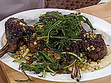 Wild, Double-Cut Boar Chops with a Wild Blueberry, Balsamic and Sage Sauce Reduction