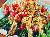 Skewers of Grilled Prawns with a Fresh Corn and Tomato Salad