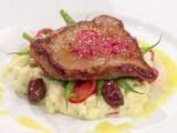 Veal Paillard with Lemon Sauce, Haricot Verts Salad, and Mashed Red Potatoes