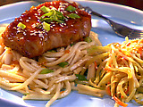 Pork Chops with Orange Soy Glaze and Udon Noodles