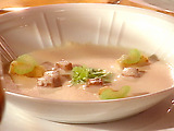 Puree of Celeriac Soup with Glazed Celeriac and Curried Apple