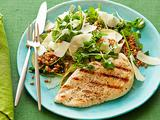 Grilled Chicken with Spelt, Pear and Watercress Salad