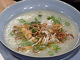 Chinese Chicken Congee with Crispy Shallots, Crispy Garlic, and Sesame Oil