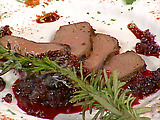 Pastrami Spice-Encrusted Venison with Huckleberry Ketchup