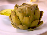 Steamed Artichokes with Almond Saffron Dip
