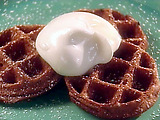 Chocolate Waffles with Marshmallow Sauce