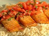 Roasted Wild Salmon with Tomatoes, Basil, and Capers, Parmesan-Crusted Cauliflower, and Rice