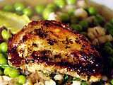 Pan-Fried Partridge with a Delicate Pearl Barley, Pea and Lettuce Stew