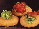 Corn Fritters with Herb Salsa and Fresh Cheese: Arepitas with Chimichurri and Queso Fresco