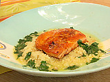Arctic Char With Tangerine-habanero Glaze And Meyer Lemon Couscous Broth