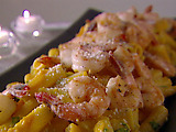 Rigatoni with Squash and Prawns