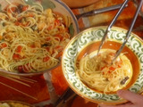 Spaghettini with Salt Cod and Tomatoes: Spaghettini con Baccala e Tomate