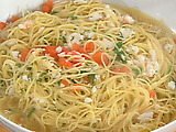Spaghettini with Chopped Shrimp and Scallops in Rich Broth
