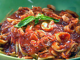 Pan-Seared Calamari with Spicy Marinara over Linguine