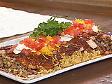 Broiled Black Sea Bass with Enchilada Sauce, Mexican Rice and Refried Beans