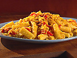 Rigatoni with Red Pepper, Almonds, and Bread Crumbs