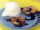 Balsamic Glazed Grilled Plums with Vanilla Ice Cream
