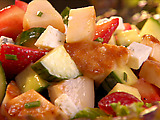 Scallop Salad with Strawberries, Cucumber and Gorgonzola in Citrus-Dijon Vinaigrette