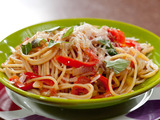 Three-Pepper and Onion Spaghetti