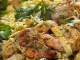 Shrimp with Linguine in a Pesto Cream Sauce