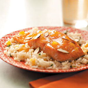 Apricot-Glazed Salmon with Herb Rice Recipe