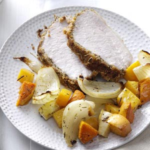 Crumb-Crusted Pork Roast with Root Vegetables Recipe