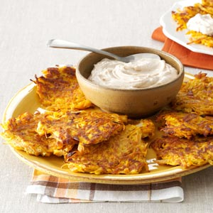 Sweet Potato Pancakes with Cinnamon Cream Recipe