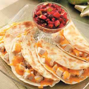 Turkey Quesadillas with Cranberry Salsa Recipe