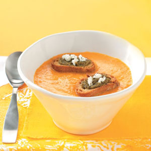 Yellow Tomato Soup with Goat Cheese Croutons Recipe