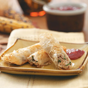 Turkey Cigars with Cranberry-Dijon Dipping Sauce Recipe