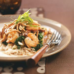Shrimp & Shiitake Stir-Fry with Crispy Noodles Recipe