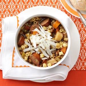 Lentil and Pasta Stew Recipe