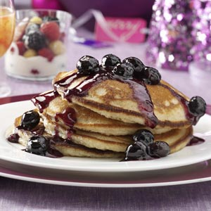 Overnight Yeast Pancakes with Blueberry Syrup Recipe