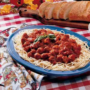 Spaghetti with Homemade Turkey Sausage Recipe