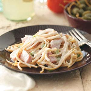 Makeover Linguine with Ham & Swiss Cheese Recipe