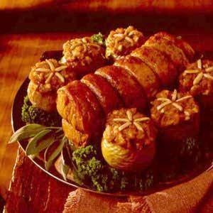 Pork Loin Roast with Yam-Stuffed Apples Recipe
