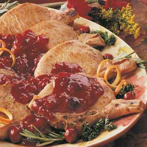 Pork Chops with Cranberries Recipe
