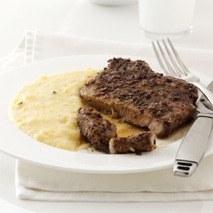Porcini-Crusted Pork with Polenta Recipe