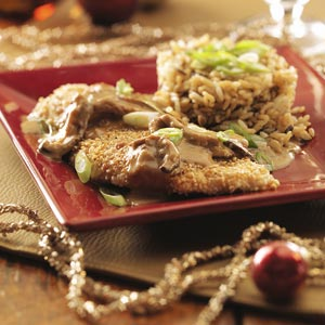 Sesame Chicken with Ginger Shiitake Cream Sauce Recipe