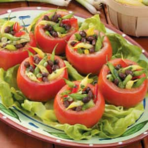 Three-Bean Tomato Cups Recipe